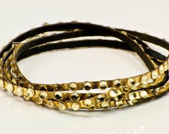 Swarovski and Leather Metallic Wrap Bracelet in Gold with jonquil swarovski crystals