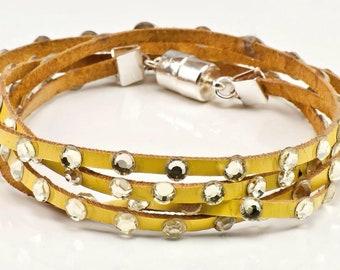 Yellow Leather and Swarovski crystal multi wrap bracelet