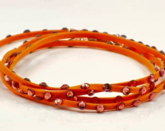Orange leather Swarovski Crystal wrap bracelet
