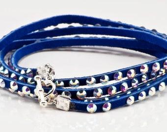 Blue Leather and Swarovski Crystal wrap bracelet