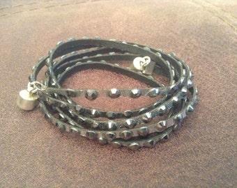 Multi wrap metallic silver bracelet with gunmetal colored swarovski crystals