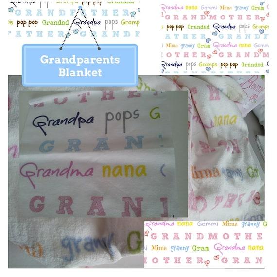 Grandparents Organic Cotton & Plush Fleece Blanket 3 sizes, Pregnancy Announcement Gift, New Baby, Nana, Grandpa, Grandma, Pop pop