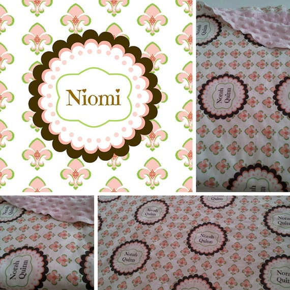 Personalized Custom Organic Cotton Name Blanket - Boho Baby Fleur de Lis Petal Peach Baby/Toddler/ Tween Blanket Gift