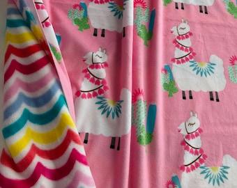 REMNANT pair - Llama Love Pink & Rainbow Swirl / Minky - Minky Fleece
