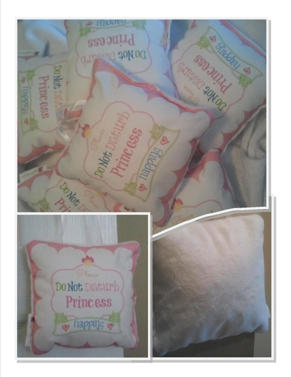 Baby Princess Napping Bitty Pillow - Baby Girl Door Pillow / Decorative Pillow 6x6 Nursery Decor, Ready to ship