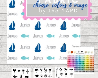 PERSONALIZED Cute Images Name Fabric by the Yard -  Gauze, Quilting, Linen, Cotton, Minky, Fleece, Organic Cotton, DIY