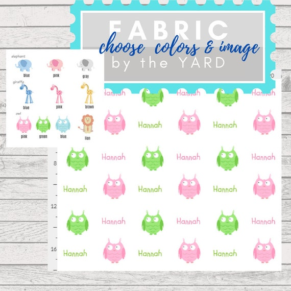 PERSONALIZED Name Fabric by the Yard - zoo animals, elephant, giraffe owl  | Gauze, Quilting Cotton, Minky, Fleece, Organic Cotton, DIY