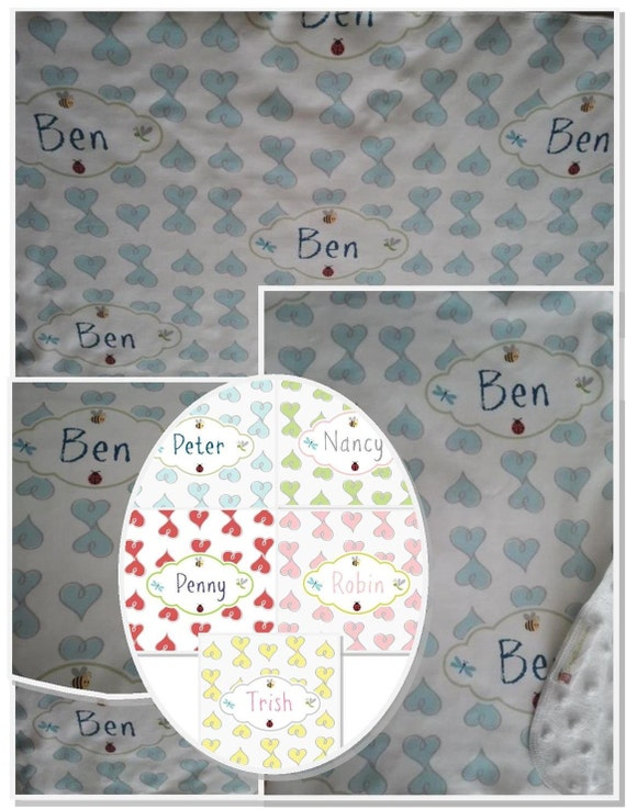 Personalized Custom Organic Cotton Blanket -Baby Blankets, Valentine Blanket, Newborn Swaddle -  Doddle Hearts Blue,  Pink, Yellow
