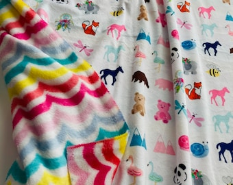 REMNANT pair - Animal Friends & Rainbow Swirl / Minky - Minky Fleece