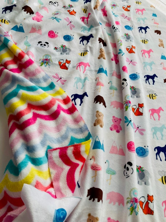 REMNANT pair - Animal Friends & Rainbow Swirl / Minky - Minky Fleece