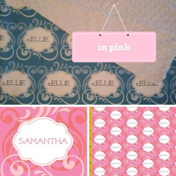 Personalized Custom Organic Cotton Blanket -Island Wave - Pink Personalized Baby/Toddler/Adult throw  Blankets