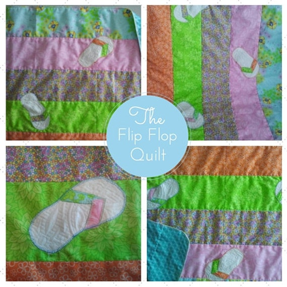 Ready to Ship - Summer Baby Quilt - Flip Flop Applique, Baby Stroller Blanket, New Baby Gift