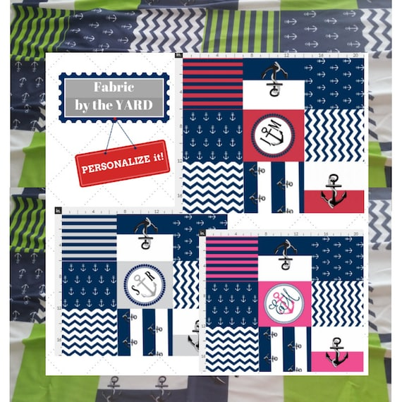 PERSONALIZED Fabric Yard - Anchors Away Cheaters Quilt, Gauze, Quilting, Linen, Cotton, Minky, Fleece, Organic Cotton, Upholstery, DIY