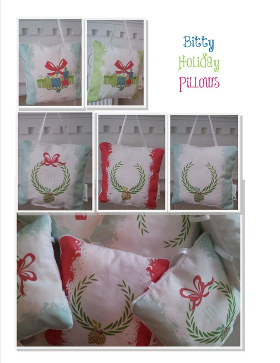 Holiday Pillow READY to SHIP 6x6- Holiday Christmas Decoration Door Pillow, Holiday Dining Room Entertanining Decor, Christmas Hostess Gift