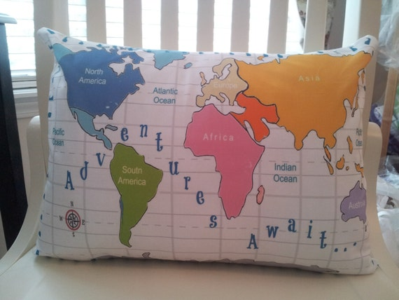 World Map - READY to SHIP  Adventures Await Pillow Sham 12x16 Travel Pillow, Nursery Decor, Colorful Pillow, Kids / Toddler Bedroom Pillow