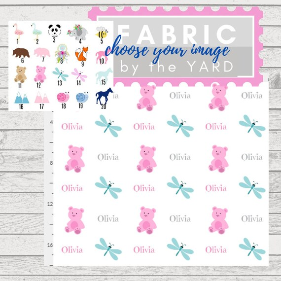 PERSONALIZED Cute Animals Name Fabric by the Yard -  Gauze, Quilting, Linen, Cotton, Minky, Fleece, Organic Cotton, DIY