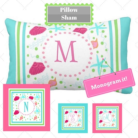 Preppy Tropical Custom Monogram Pillow Sham 12 x 16  Nursery Accent Pillow, Dorm Decor, Bedroom Pillow, Beach Home Decor