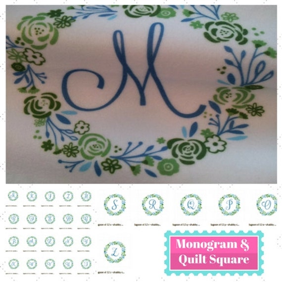 Alphabet Quilt Square Fabric 26 piece SET- 8x8  Monogram Shabby Chic Wreath - Lagoon | Designer Fabric | Kona, Organic cotton, minky, linen