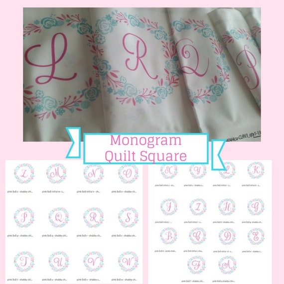 In Stock Monogram Initial Quilt Square Fabric - 8x8  Monogram Initial Shabby Chic Wreath - Pink Mint | Designer Fabric | Kona