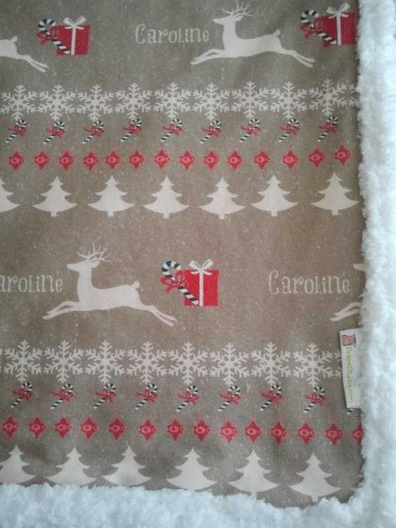 Raindeer Christmas / cream puff -Organic Cotton Personalized Blankets 32x50 baby/toddler/tween/teen/adult, Christmas Blanket, Christmas Gift