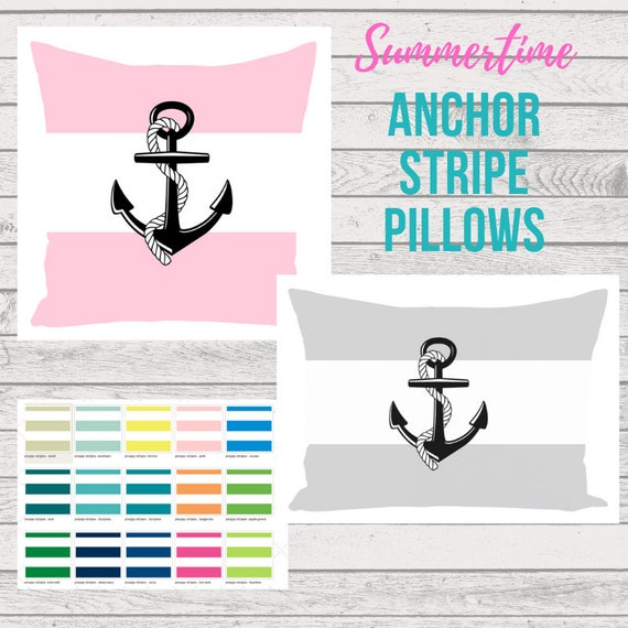 Anchor on Stripe Pillows - Summer Coastal / Poolside Pillows, Preppy Home Decor, Nautical Boat Pillow, Monogram Blanks, Custom Color Pillow