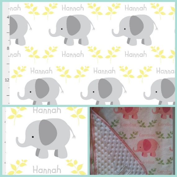 Personalized Organic Cotton Blanket Elephants in a Row Gray Yellow Baby Blanket, Toddler Blanket, Baby Shower Gift, Jungle Nursery Decor