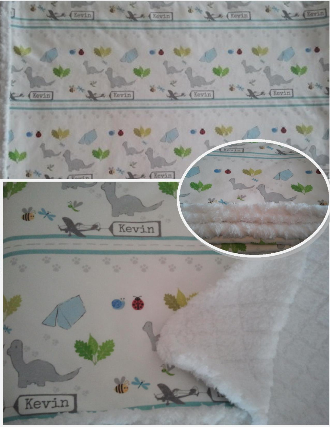 personalized custom baby blanket dino friends organic cotton