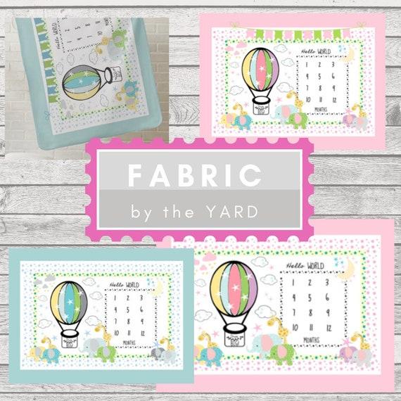 Fabric Yard  Monogram Blank-Monthly Milestone Elephant & Giraffe Baby Fabric, Gauze, Cotton, Minky, Fleece, Organic Cotton, Can PERSONALIZE