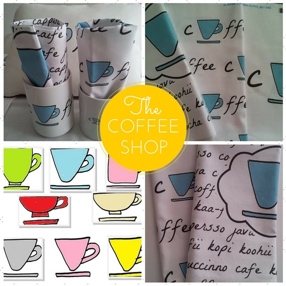 READY to SHIP Coffee World Colorful Coffee Mugs Cotton Cloth Napkin BLUE, Shabby Chic Retro Kitchen Decor, Hostess Housewarming Gift for Her