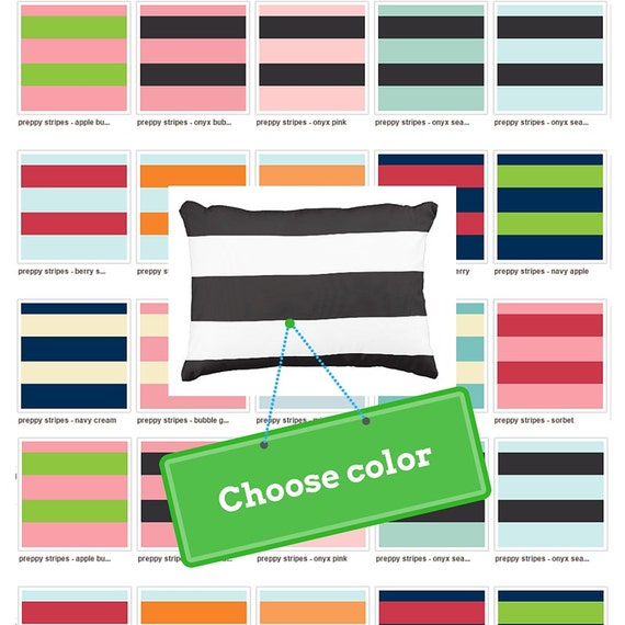 Preppy Stripes Color on Color Pillow Case, College Dorm Decor, Nursery Decor, Kids Pillow Case, Nautical Bedroom | MONOGRAM BLANK
