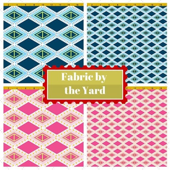 Fabric by the Yard - Aztec Diamond Tribal Tropical - Ocean & Berry, Upholstery, Quilting, Linen, Cotton, Minky, Fleece, Organic Cotton, DIY