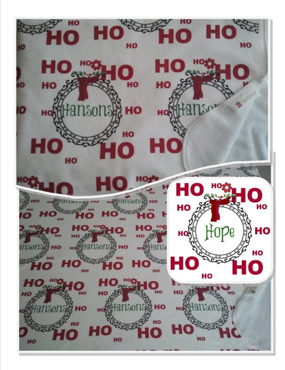 Ho Ho Ho Wreath Personalized Holiday Blanket, baby/toddler/tween/teen/adult Holiday Gift Blanket, Throw Blaket, HO HO HO Blanket