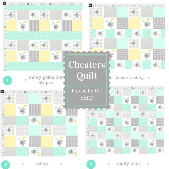 Fabric by the Yard - Cheaters Quilt Elephant Friends Gray Mint, Upholstery, Quilting, Linen, Cotton, Minky, Fleece, Organic Cotton, DIY