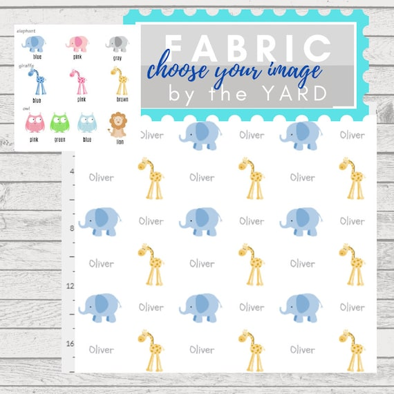 PERSONALIZED Name Fabric by the Yard - zoo animals, elephant, giraffe owl  | Gauze, Quilting Cotton, Minky, Fleece, Organic Cotton, DIY