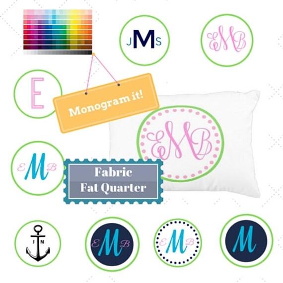 Monogram Custom Fabric Fat Quarter Home Decor Fabric - DIY, Gift, Linen, Cotton, Minky, Organic Cotton, Double Gauze