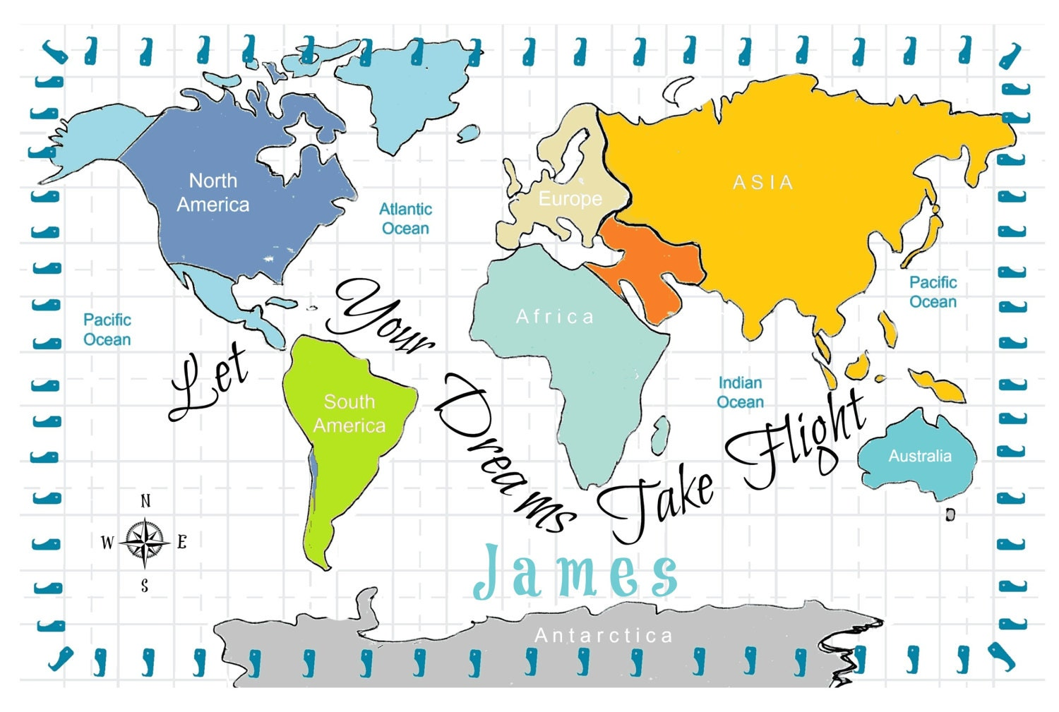 World map personalized dreams turquoise 2 layer blanket 2 sizes world map personalized dreams turquoise 2 layer blanket 2 sizes colorful custom kids toddler name blanket nursery decor baby gift gumiabroncs Choice Image