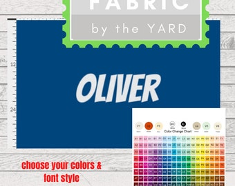 PERSONALIZED Solid Name Fabric by the  Yard - 1 Name 1 Color | Gauze, Quilting, Linen, Cotton, Minky, Fleece, Organic Cotton, DIY