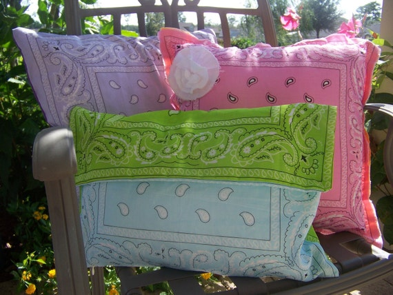 Retro Chic Bandana Pillow Covers - 18x18 square, College Dorm Pillow, Girl Bedroom Decor, Retro Pillow Cover Bandana