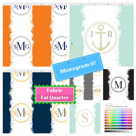 Custom Monogram Fabric Fat Quarter - Nautical Home Decor, Retro Tie Dye Stripe Fabric - DIY, Gift, Linen, Cotton, Minky, Organic Cotton