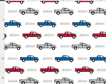 PERSONALIZED Pickup Trucks Name Fabric by the  Yard - Colorful Trucks | Gauze, Quilting, Cotton, Minky, Fleece, Organic Cotton, DIY