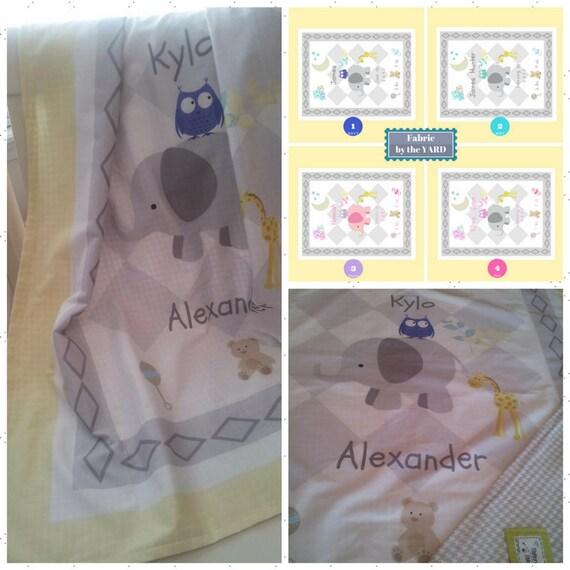 Personalized Custom Fabric Yard Quilt Fabric -  Elephant Friends - owl & giraffe, New Baby Birth Announcement, Cotton, Minky, Organic Cotton