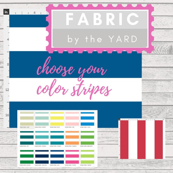 Fabric Yard - Preppy Stripes / Cabana Stripes - Upholstery, Quilting, Linen, Cotton, Minky, Organic, Gauze, Kids Fabric, DIY
