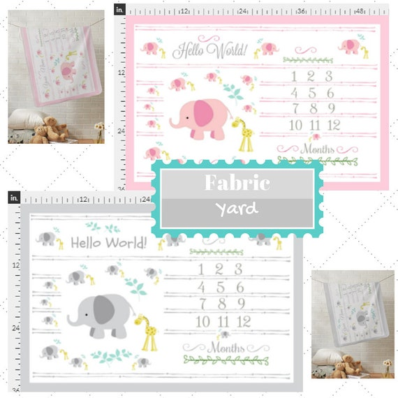 Fabric by the Yard | Monthly Milestone Elephant & Giraffe  Baby Fabric, Gauze, Cotton, Minky, Fleece, Organic Cotton, Can PERSONALIZE
