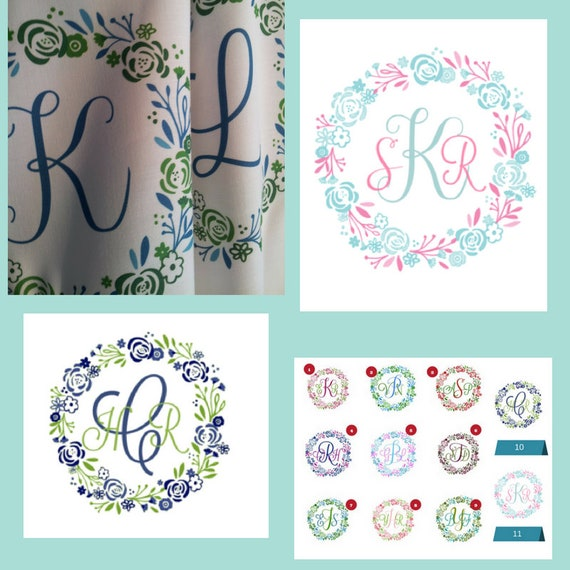 Quilt Square Fabric - 8x8 Monogram Shabby Chic Wreath - Lagoon | Personalized Fabric | 3 Initials A-Z | linen,cotton,minky,organic cotton