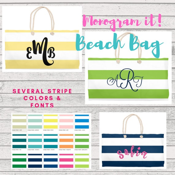 Beach Bag - Preppy Stripes,  Personalized Beach Bag,  Monogrammed Bridesmaid Gift, Destination Wedding - Beach Wedding, Custom Beach Tote