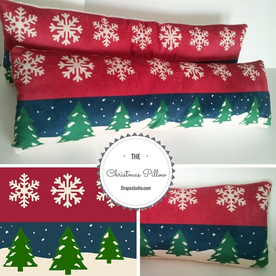 READY to SHIP Christmas Decorative Throw Pillow 8x26, Holiday Decor Gift, Christmas Trees & Snowflakes Vintage Christmas Toss Pillow
