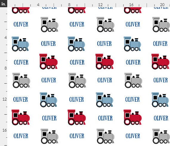 PERSONALIZED Trains Name Fabric by the  Yard - Colorful Choo Choo Trains | Gauze, Quilting, Cotton, Minky, Fleece, Organic Cotton, DIY