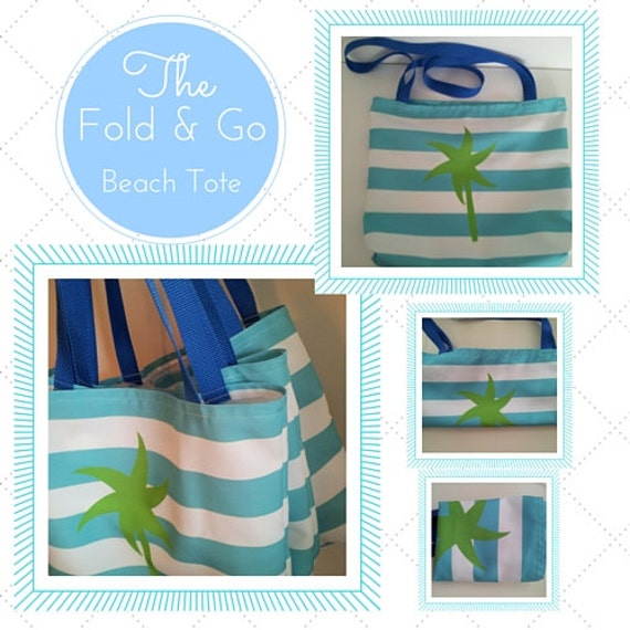 Fold & Go Beach Tote Bag - Preppy Palm Stripes Seafoam Kiwi Beach Bag, Monogram Blank,  Ready to Ship