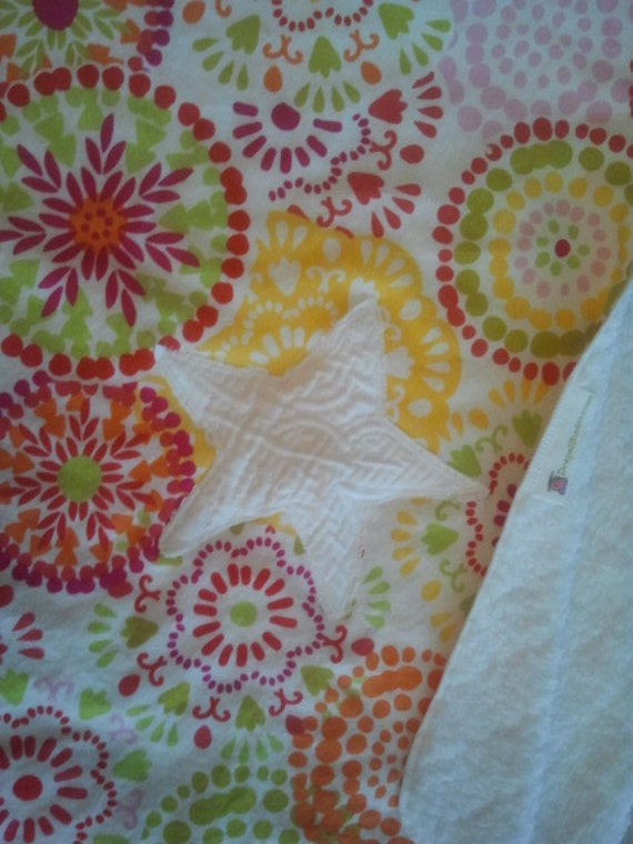 Baby Stroller Quilt with Star Fish applique -Waverly Designer Cotton Fabric - Big Wheels / READY TO SHIP