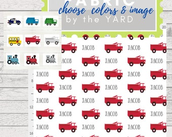 PERSONALIZED Trains & Trucks Name Fabric by the  Yard - 1 Name | Gauze, Quilting, Linen, Cotton, Minky, Fleece, Organic Cotton, DIY